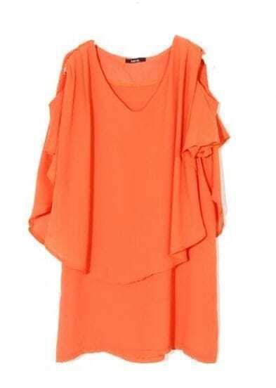 Orange Off Shoulder Chiffon V-neck Short Ruffle Sleeve Layers T-shirt