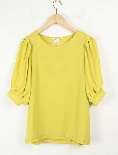 Candy Color Round Neck Short Sleeve Yellow Loose Chiffon Shirt