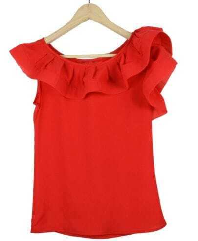 Ruffle Solid Red Round Neck Sleeveless Irregular Chiffon Shirt
