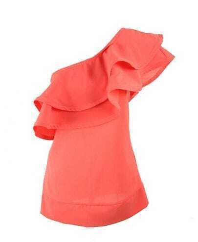 Ruffle Solid Red One Shoulder Sleeveless Chiffon Shirt