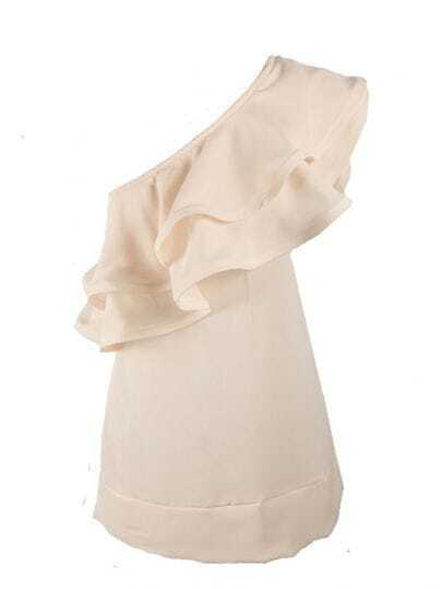 Ruffle Solid Beige One Shoulder Sleeveless Chiffon Shirt
