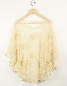 Solid Kaki Round Neck Bat Half Sleeve Cape Lace Shirt