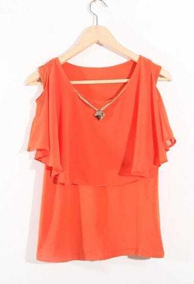 Orange Ruffle Round Neck Off The Shoulder Chiffon Shirt