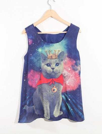 Blue Beading Cat Printed Round Neck Sleeveless Chiffon Shirt