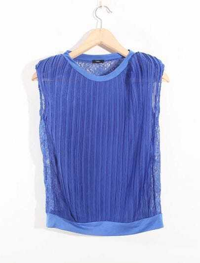 Stiching Lace Blue Round Neck Sleeveless Chiffon Shirt