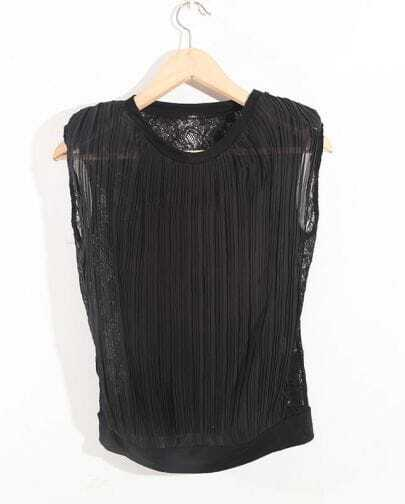 Stiching Lace Black Round Neck Sleeveless Chiffon Shirt
