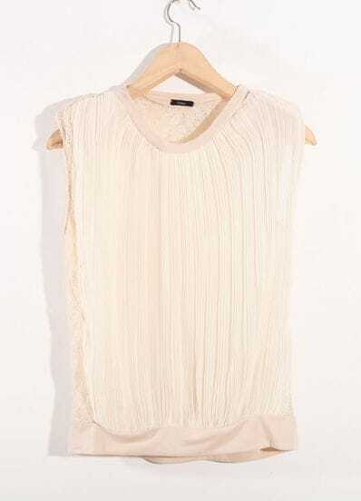 Stiching Lace Beige Round Neck Sleeveless Chiffon Shirt