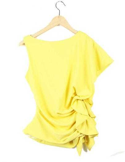 Vintage Yellow Zippered Ruffle Round Neck Irregular Sleeve  Chiffon Shirt
