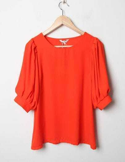 Candy Color Round Neck Short Sleeve Orange Loose Chiffon Shirt