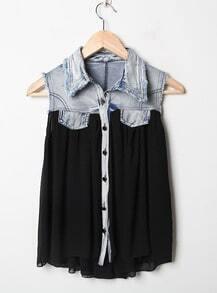 Stiching Denim Lapel Sleeveless Black Chiffon Shirt