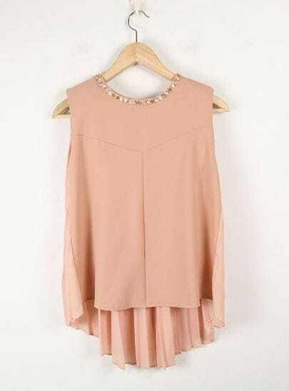 Beading Solid Pink Round Neck Sleeveless Pleated Chiffon Shirt