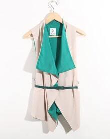 Green Vintage Ruffle Lapel Sleeveless Irregular Shirt With Belt