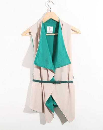 Green Vintage Ruffle Lapel Sleeveless Irregular Shirt With Belt