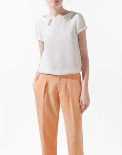 Beading Solid White Lapel Short Sleeve Chiffon Shirt