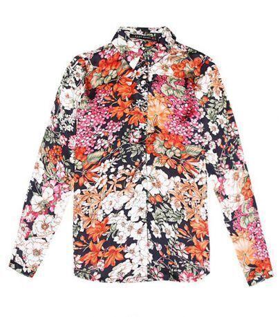 Vintage Floral Lapel Long Sleeve Slim Shirt
