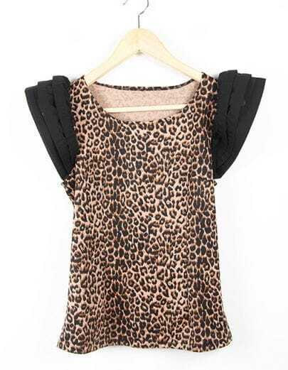 Leopard Ruffle Round Neck Sleeveless Slim T Shirt