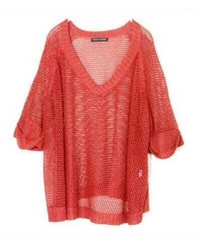 Solid Orange V Neck Half Sleeve Hollow Loose Sweater