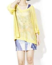 Solid Yellow V Neck Half Sleeve Hollow Loose Sweater