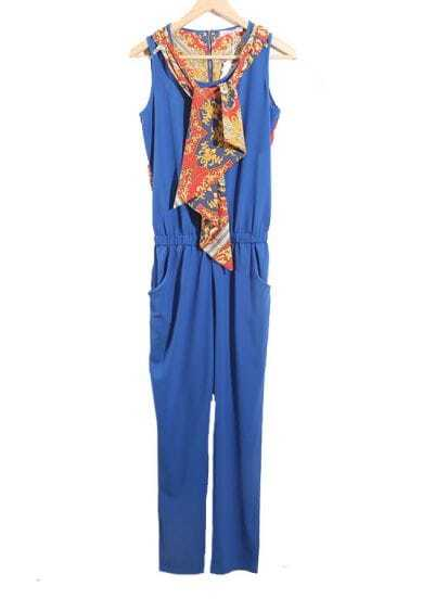 With Scarf Solid Blue High Waist Haren Jumpsuit