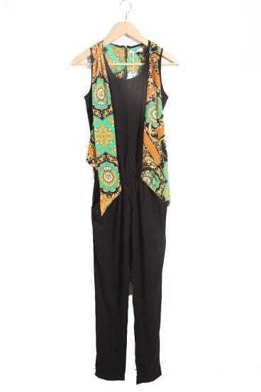 With Scarf Solid Black High Waist Haren Jumpsuit