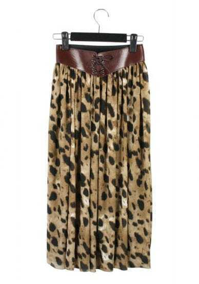 Leopard Drawstring Waist Loose Long Skirt