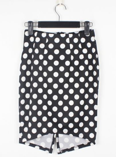 Vintage White Polka Dot Black Slim Irregular Skirt