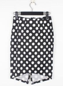 Vintage White Polka Dot Black Slim Irregular Skirt