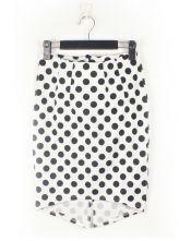 Vintage Black Polka Dot White Slim Irregular Skirt