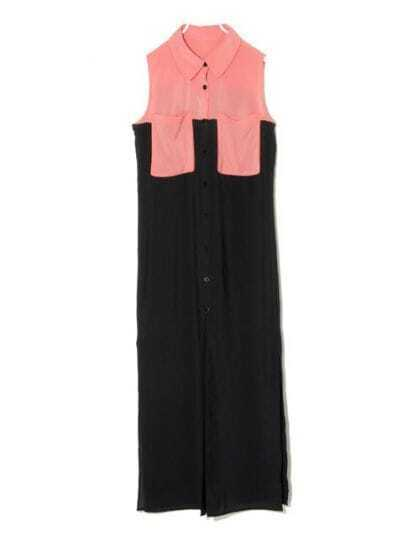 Color Matching Button Lapel Sleeveless Black Chiffon Long Dress