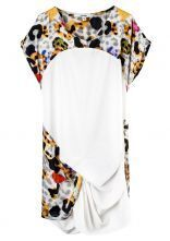 Printed Round Neck Short Sleeve Irregular Dress