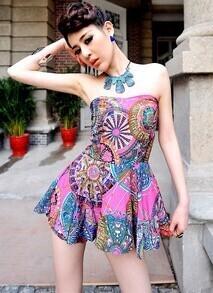 Vintage Printed Strapless High Waist Dress