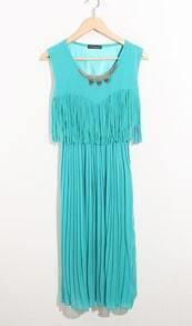 Blue Round Neck Tank Tassel Bohemian Chiffon Dress