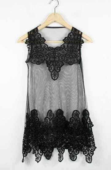 Black Lace Tank Embroidery Dress