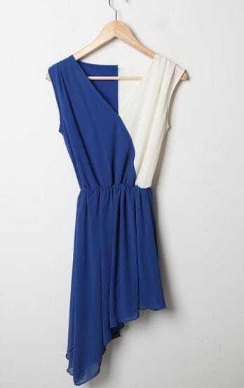 Blue Patchwork White V Neck Tank Asymmetrical Chiffon Dress