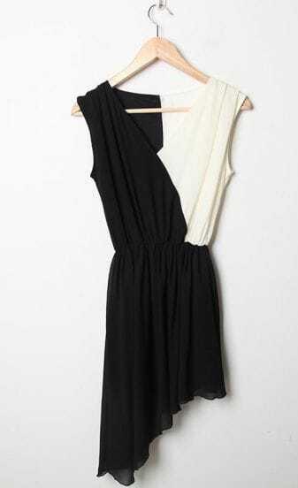 Black Patchwork White V Neck Tank Asymmetrical Chiffon Dress