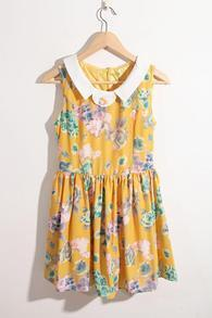 Yellow Lapel Print Sweety Above Knee Tank Dress