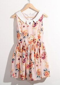 Pink Lapel Print Sweety Above Knee Tank Dress