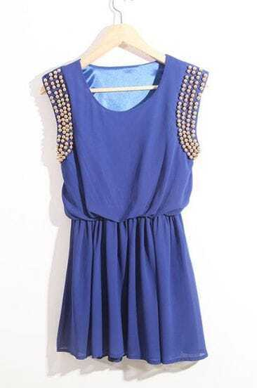 Blue High Waist Round Neck Above Knee Dress