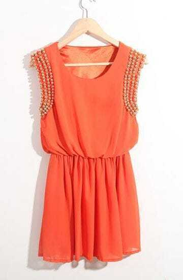 Orange High Waist Round Neck Above Knee Dress