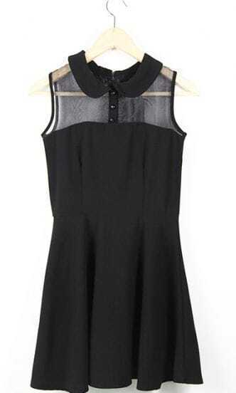 Little Black Vintage Lapel Mesh Tank Dress