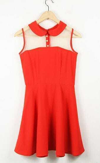 Orange Vintage Lapel Patchwork Net Tank Dress