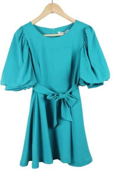 Blue Sweety Loose Puff Sleeve Round Neck Bowtie Dress
