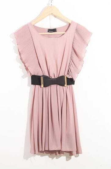 Pink Sweety Round Neck Ruffles Sleeve Dress