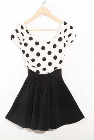 Black Sweety Round Neck High Waist Dot Print Dress
