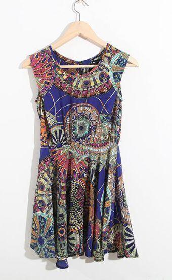 Blue Vintage Print Tank Round Neck Dress