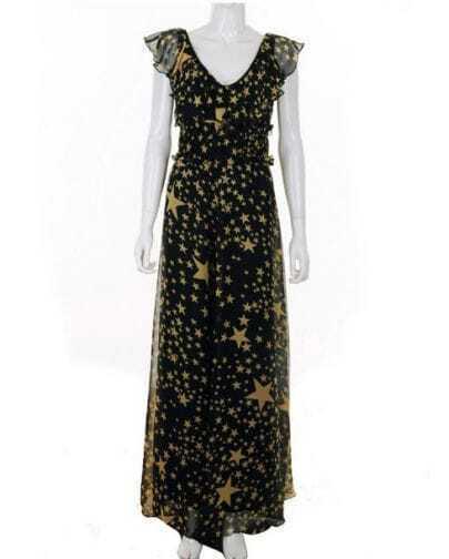 Star Printed V Neck Waist Black Slim Chiffon Dress