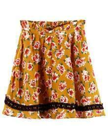 Stiching Lace Yellow Floral Skirt With Belt