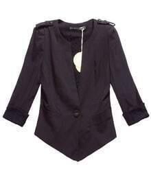 Cuff Stiching Lace Vintage Solid Black Slim Suit