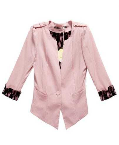 Cuff Stiching Lace Vintage Solid Pink Slim Suit