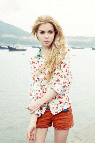 Multicolor Polka Dot Beige Lapel Long Sleeve Shirt
